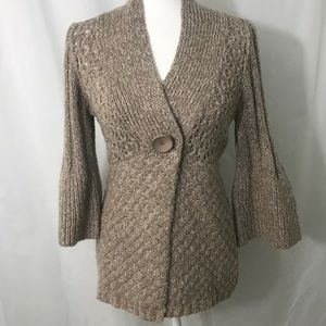 ONE GIRL WHO Loose Knit Cardigan Bell Sleeve M EUC